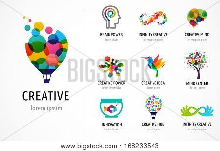 poster of Creative, digital abstract colorful icons, elements and symbols, logo collection, template