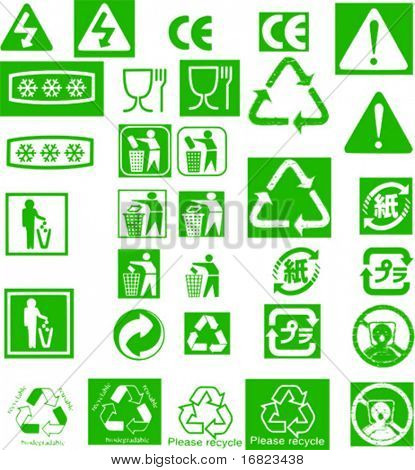 collection of different recycle vector green stamp