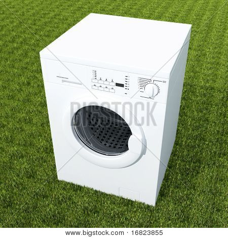 3d image of classic white washing machine on green grass
