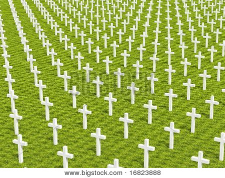 3d image of several white cross on green grass