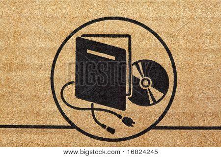 electronic mark on cardboard fine closeup image