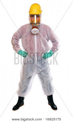 Male worker in bio-hazard suit on white background.