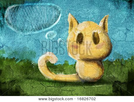 painting kitty on the grunge wall