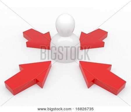 3d Abstract Character in center target from red arrows