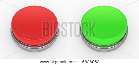 empty red and green buttons  (3d render)
