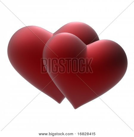 Two 3d heart on white background