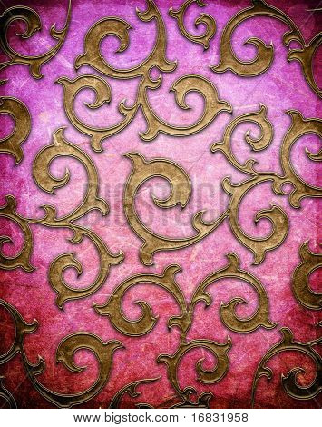 Gold shod ornament on an vintage wall