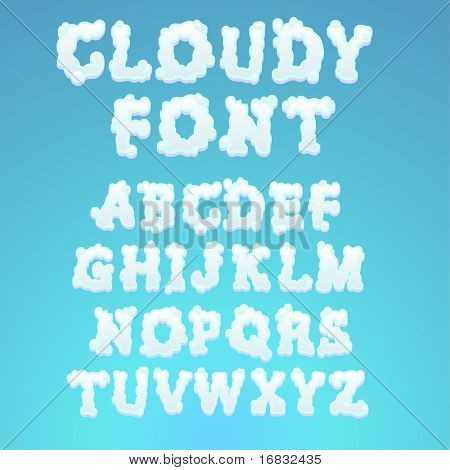 Cloudy alphabet - find more fonts in my portfolio