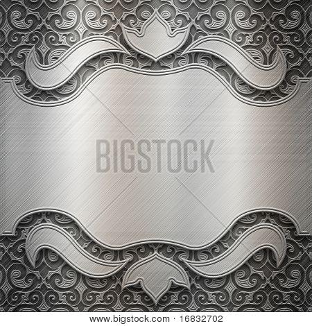 Placa de metal prata com ornamento clássico (grande coleção)