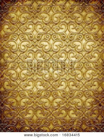 Gold Metall Muster auf Papier Backgrond (Vintage Collection)