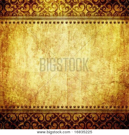 Vintage paper background with shabby ornament