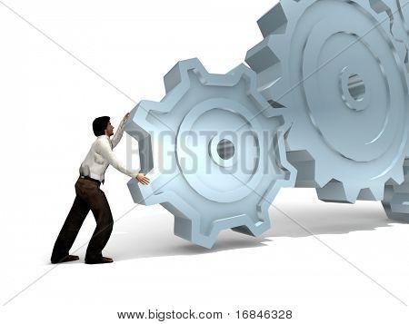Businessman Turning a Gear