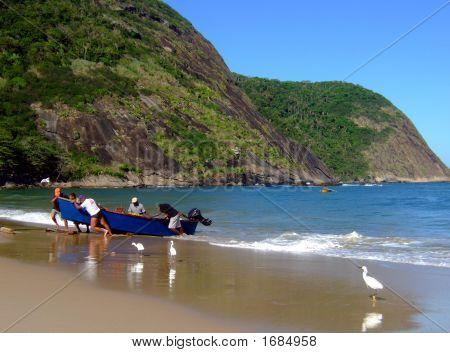 Fishermen In Itaipu Beach