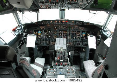 Cockpit View Of A Commertial Airplane