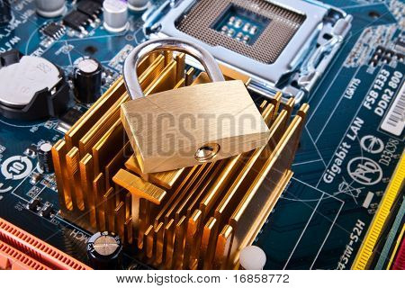 information security. Motherboard with padlock.  Data protection.