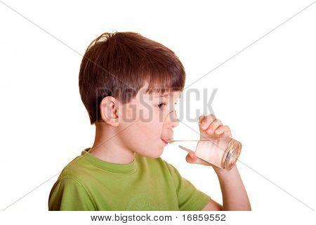 Portrait of boy drinking glass of water