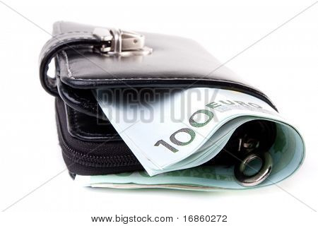 Black leather wallet and euro banknotes isolated on white background
