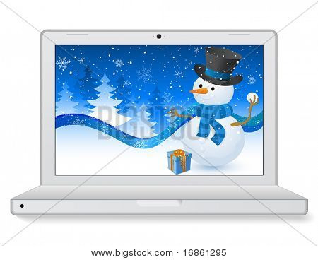 Christmas Laptop with a snowman