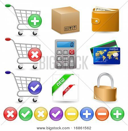 Online Internet Shop. Web Shop icon set.