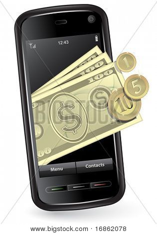 Mobile phone with money. Mobile payment concept.