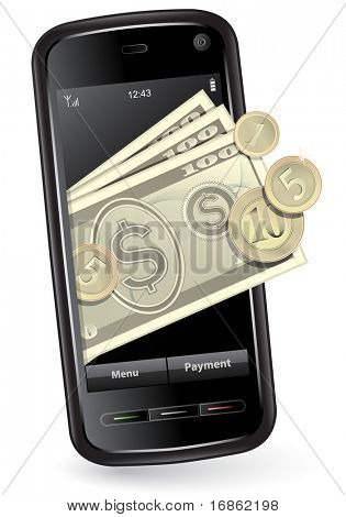 Mobile payment concept. Mobile phone with money.