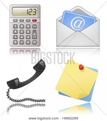 Office supplies. Note papers, phone receiver, mail envelope.