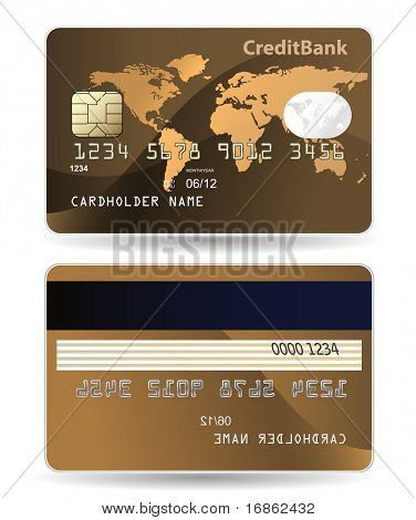 Credit card. Highly detailed illustration of credit card with world map, chip, embossed digits and hologram.