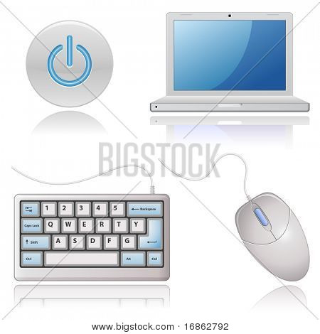 Universal Web Icons - Computer. Sehr detaillierte Symbole mit einer Reflexion.
