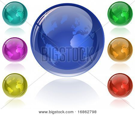Glossy Globe. Set of glossy globes in 7 different color. Only simple gradient (transparency is not used)