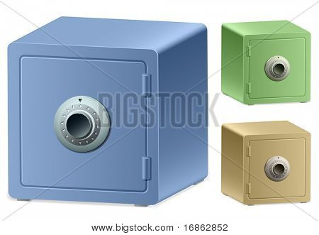 An Illustration of Strongbox with a Combination Lock. A bank vault door.