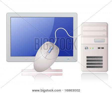 Highly detailed vector illustration of Light Grey Desktop Computer and computer mouse