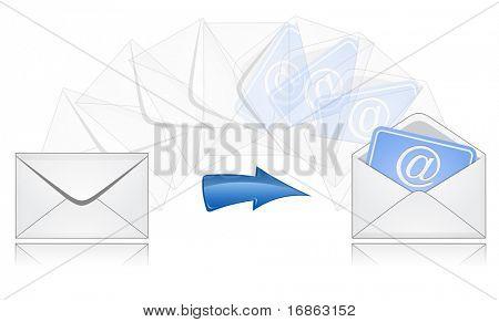Der Prozess der Mailversand. E-Mail.