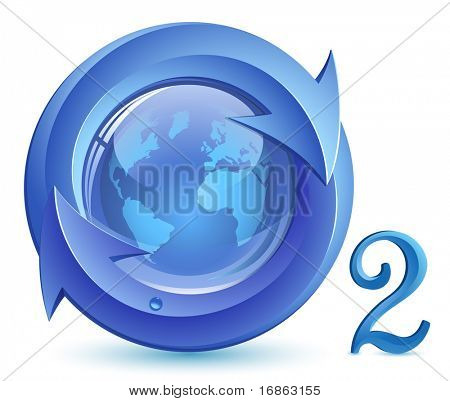 Oxygen. o2.  Eco Concept. Globe, arrows with drop of water.