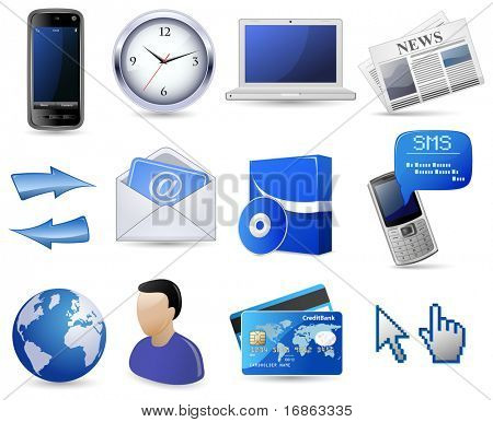 Business website icon set - blue