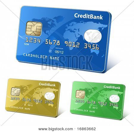 Credit or debit cards with world map and reflections. Payment concept. Colorful collection of credit cards. Highly detailed vector.