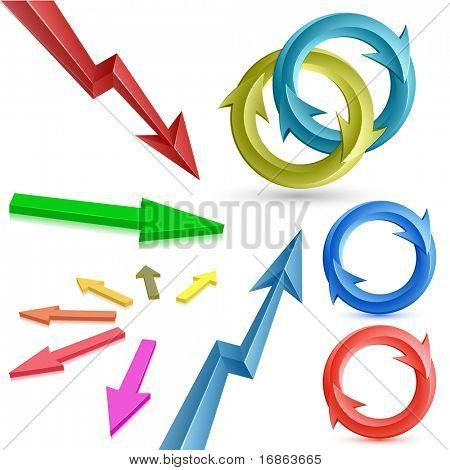 Coleção de setas. Ilustração em vetor de setas de cor.