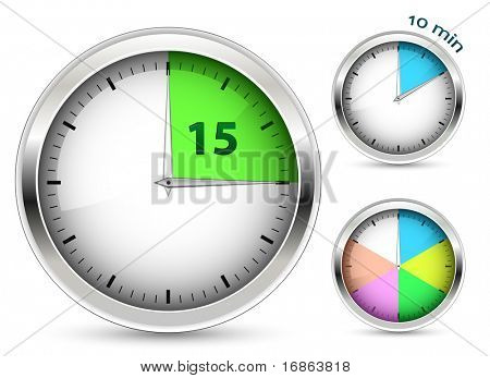 Set of timers. Vector illustration.