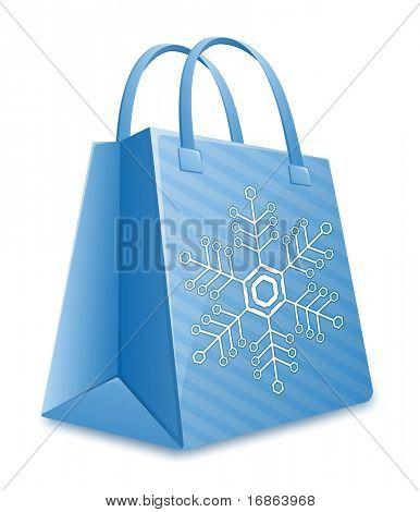 Christmas shopping bag. Blue striped shopping bag with snowflake. Christmas Sale