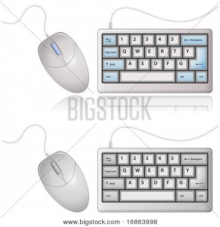 White Keyboard and Computer Mouse. Vector illustration.