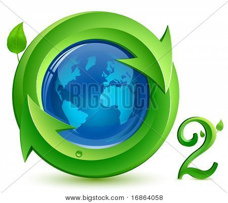 Oxygen. o2.  Eco Concept. Globe, arrows and green leaves with drop of water.