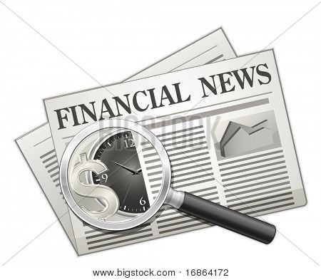Financial news. Newspaper and Magnifying glass