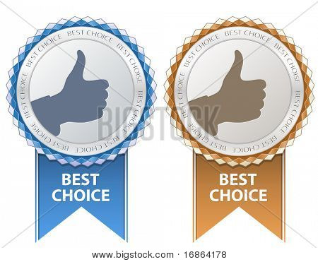 Best Choice Sign. Thumb Up Gesture.