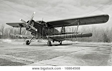 Historic plane paradropper Antonov An-2 in airport Line - Czech republic Europe
