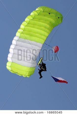 Paratrooper with Czech flag in airport Pilsen Line - Czech Republic Europe