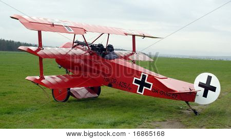 Historic triplane Fokker Dr.1 in airport Plasy - Czech Republic Europe