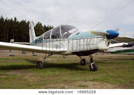 Czech aerobatic plane Zlin 43 in airport Plasy - Czech Republic Europe
