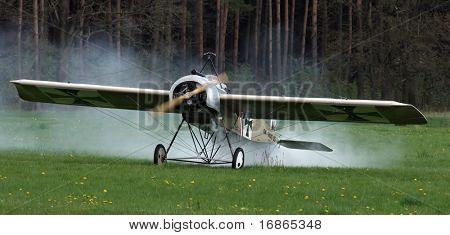 Damaged historic plane Fokker Eindecker