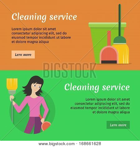 Set of cleaning service web banners. Flat style. House cleaning ...
