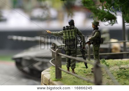 Izraeli soldiers in Lebanon - plastic model 1:72 scale - extremely closeup