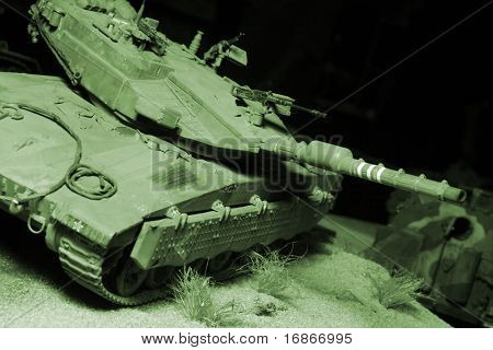 Modern israeli Merkava tanks in night action